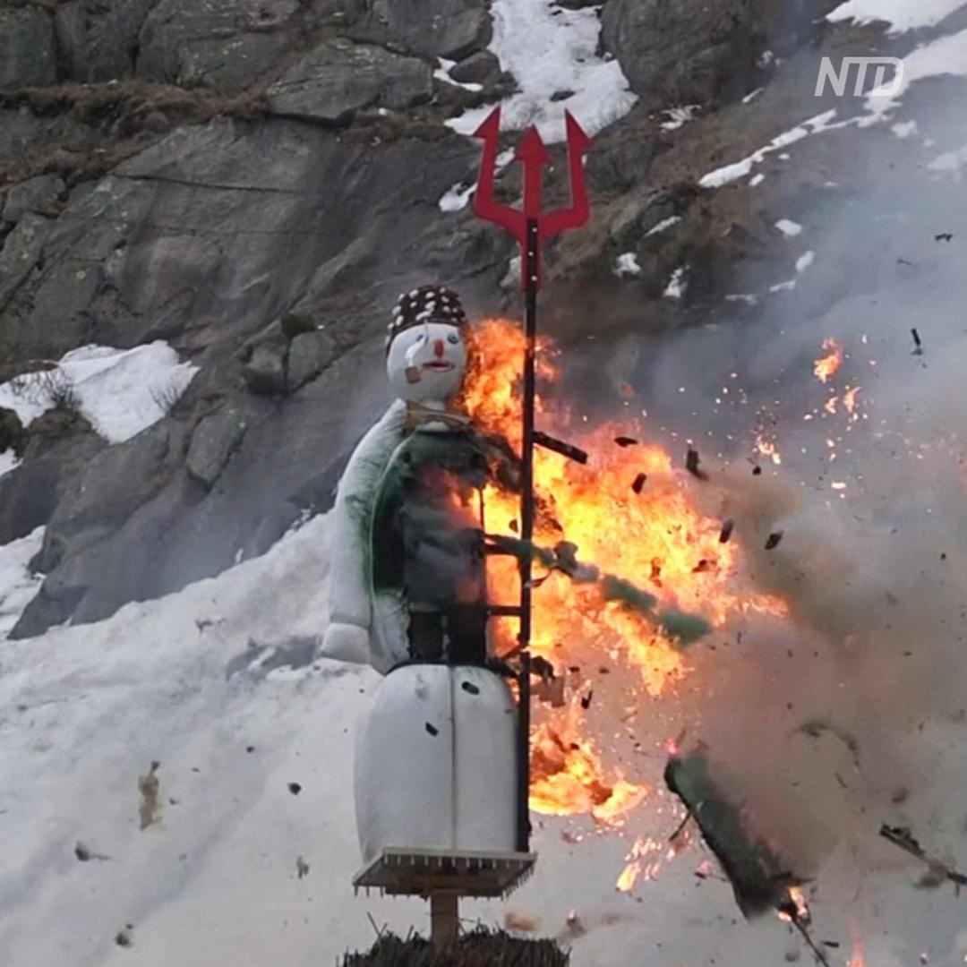 Как в Швейцарии взрывали снеговика