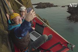 Офис, подвешенный на скале: шотландец показал значение слов «удалённая работа»