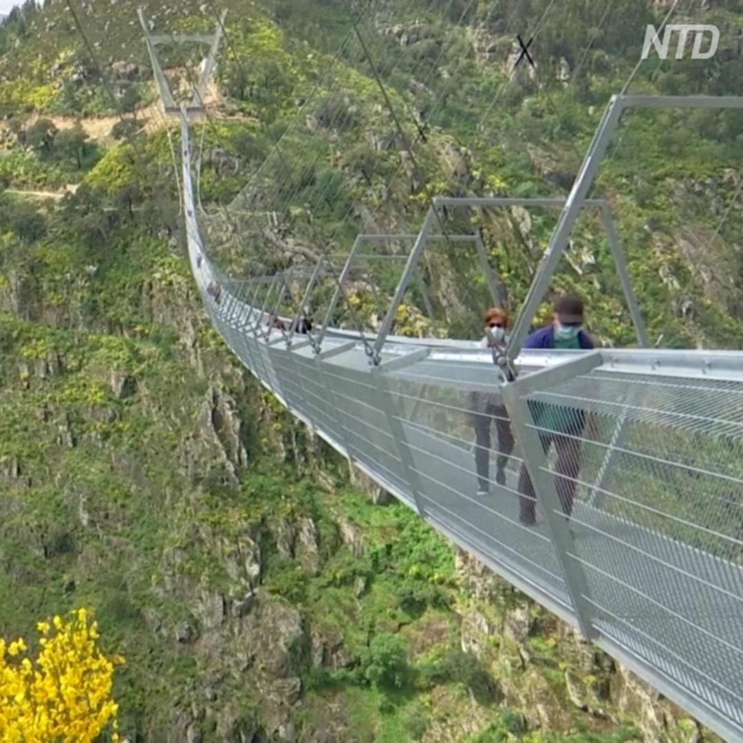 Самый длинный в мире подвесной пешеходный мост открыли в Португалии