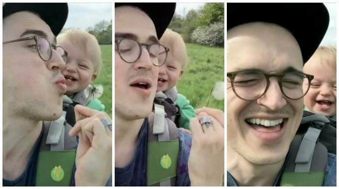 Малыш впервые видит одуванчик. Весёлое видео