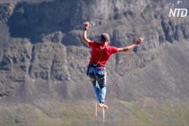 В Швеции немецкие слэклайнеры побили мировой рекорд по хайлайну