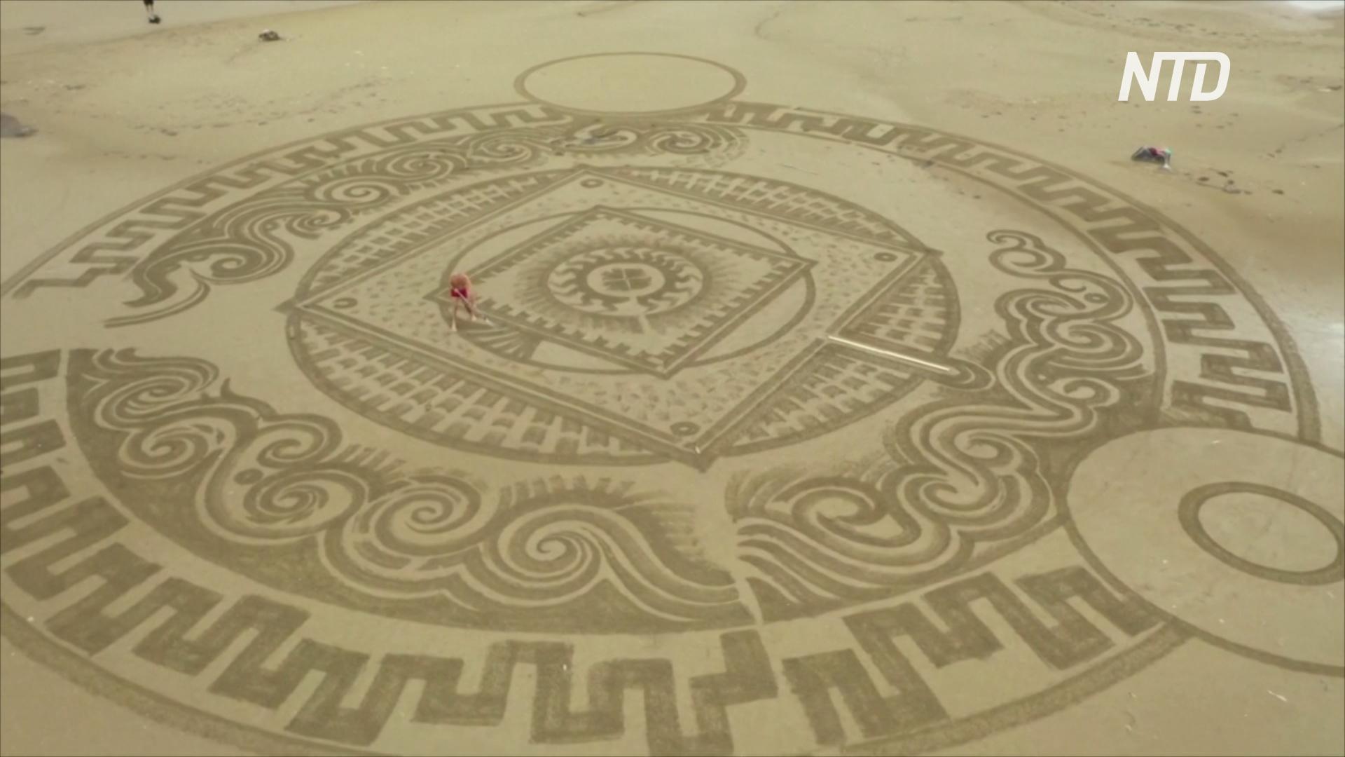 Шедевры на пару часов: хорватский мастер рисует на пляжах