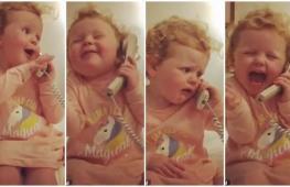 Малышка разговаривает по телефону. Весёлое видео