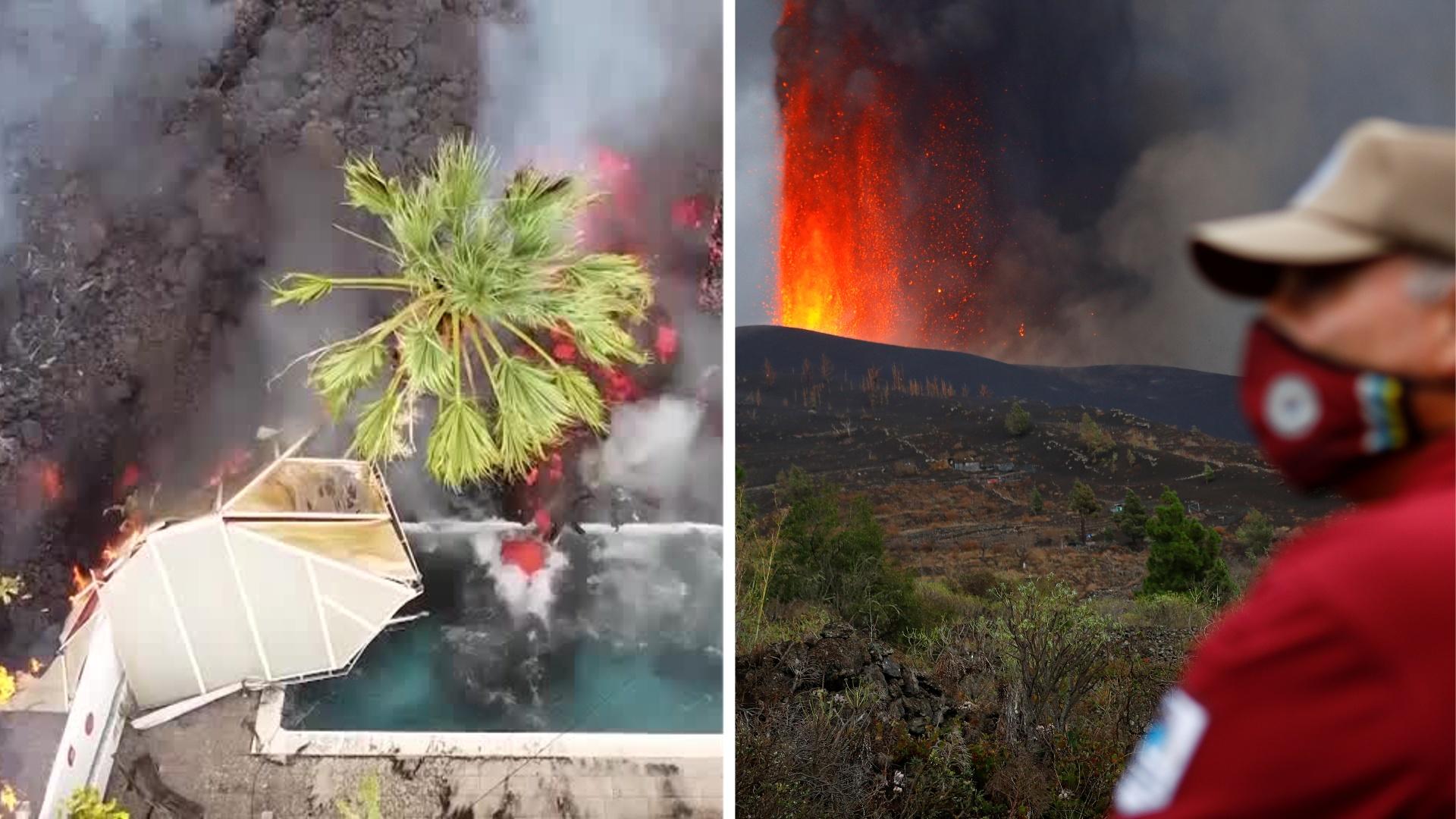 Лава из вулкана на острове Пальма сжигает всё на своём пути