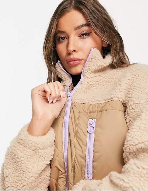 Бежевая куртка из искусственного меха с контрастными стегаными вставками Only