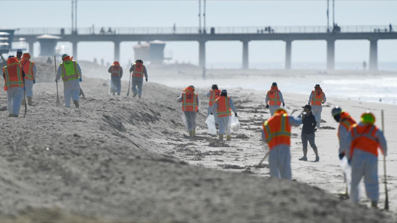 Сбор нефти на пляжах Калифорнии продолжается