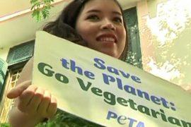 Девушку одели в салат ради рекламы вегетарианства