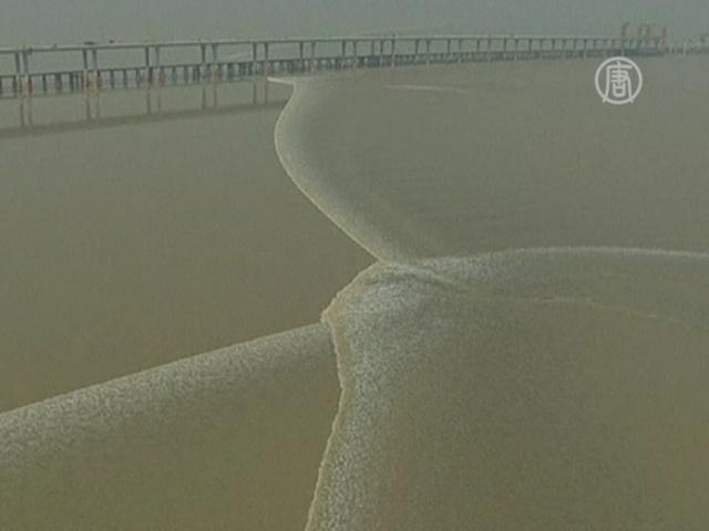 Уникальная приливная волна движется по реке