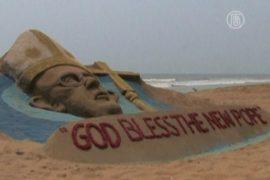 Папа Римский из песка появился на пляже в Индии