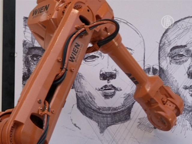 Роботы помогают художнику писать картины