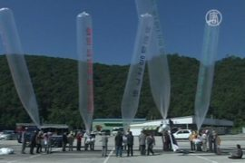На сторону КНДР запустили шары с листовками