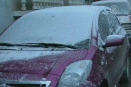 В Китае, в Синьцзяне неожиданно выпал снег