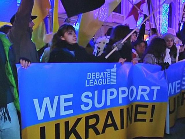 В Грузии прошла акция в поддержку Евромайдана