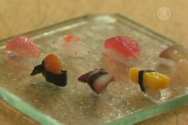 Суши размером в сантиметр предлагают в Токио