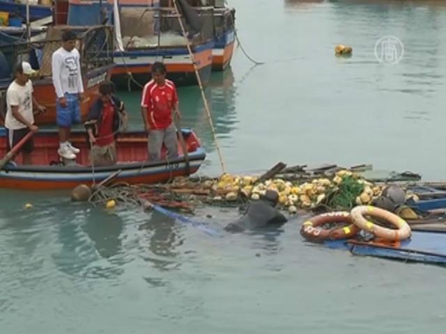 Чилийские рыбаки спасают лодки после цунами