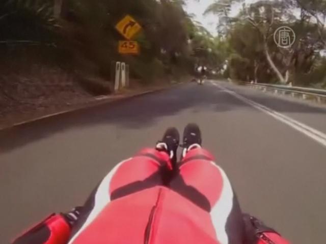 Гонщик хочет разогнать роликовые сани до 500 км/ч