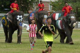 Слоны сыграли в футбол с людьми