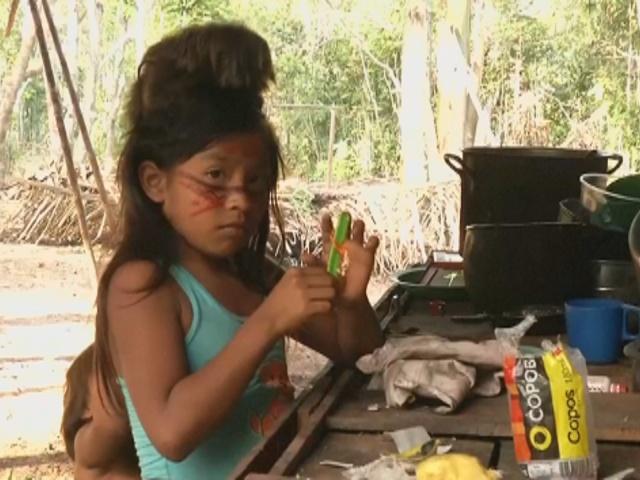 Бразильские индейцы встречают туристов