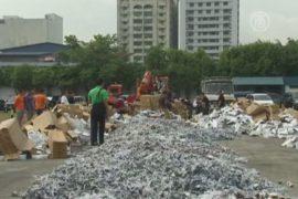 Тонны пиратской продукции уничтожили на Филиппинах