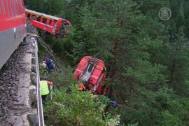 В Швейцарии на поезд сошёл оползень