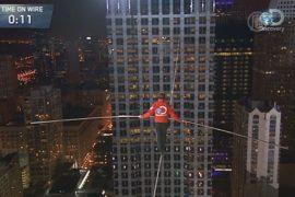 Ник Валленда прошёлся по тросу между небоскрёбами