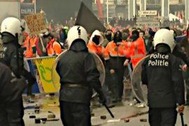 В Бельгии протест закончился стычками с полицией