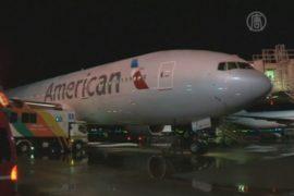 Из-за непогоды в Японии пришлось сажать самолет