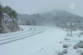 На севере Израиля — небывалый снегопад