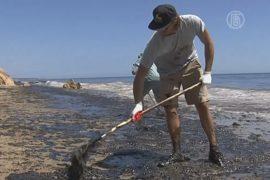 В Калифорнии продолжают собирать разлившуюся нефть