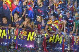 Поклонники «Барселоны» празднуют победу кумиров