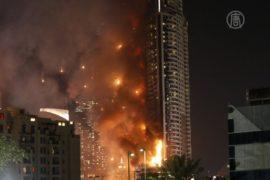 Дубай: пожар на фоне новогоднего фейерверка